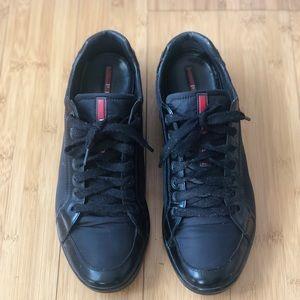 Men's Prada black leather sneakers